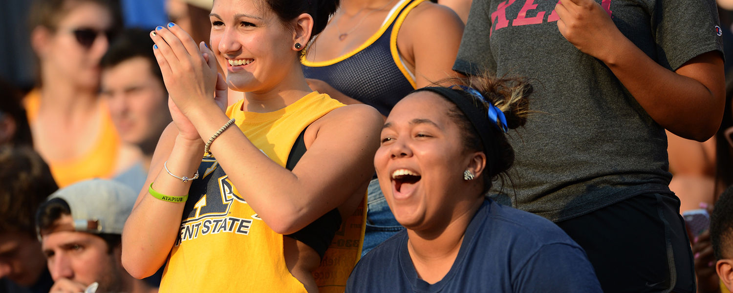 Fans of the Kent State Golden Flashes react to a play during the home opener football game at Dix Stadium during the 2014 season.