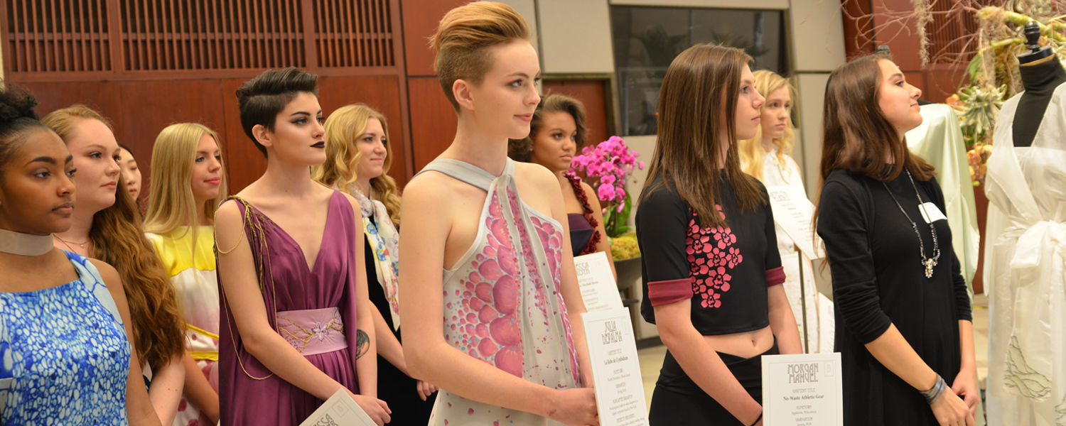 Students modeling student made garments during the Fashion Meets the Botanicals event in Cleveland