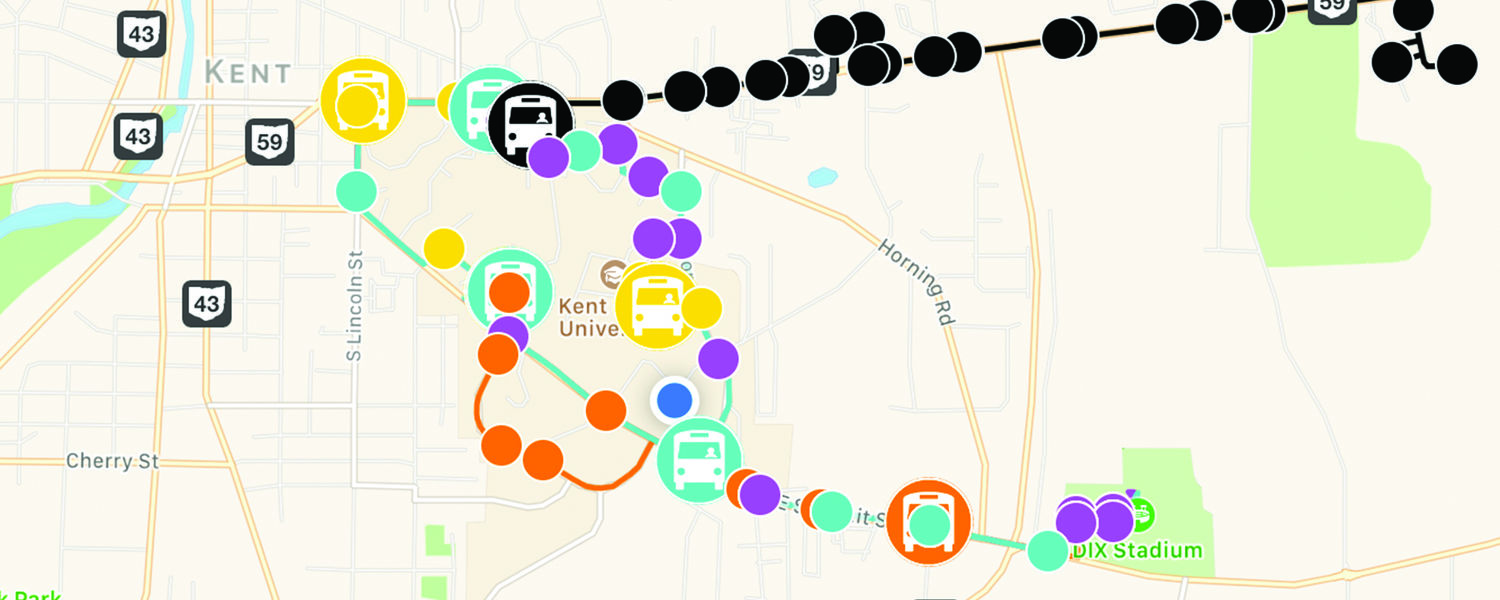 Live Bus Tracker map of routes