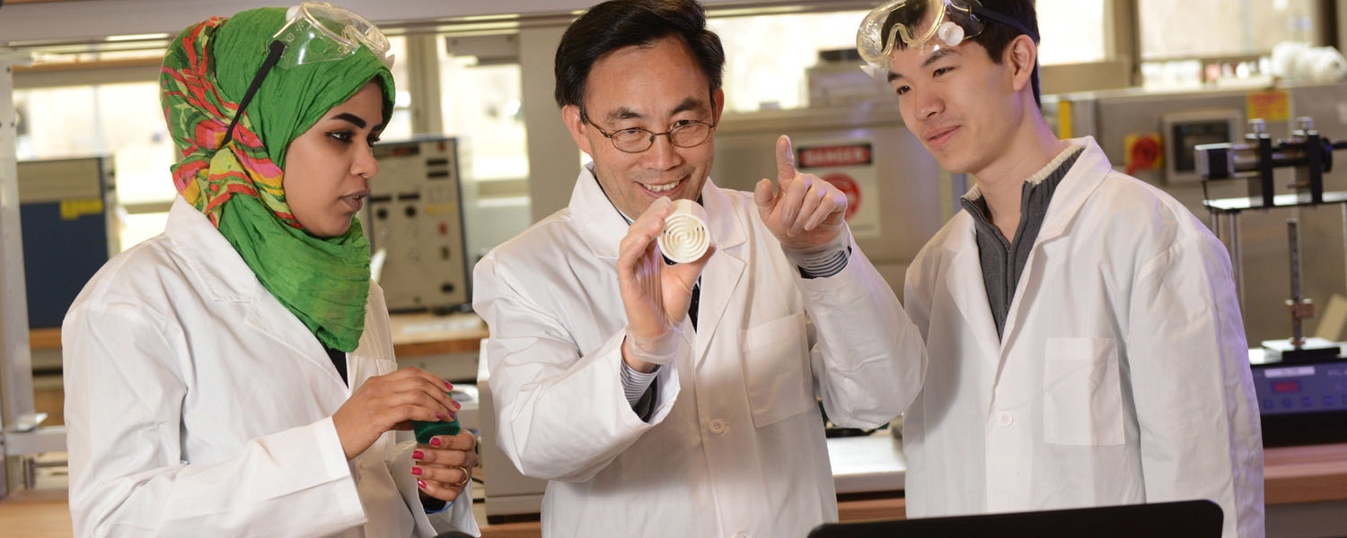Students learn from Yanhai Du, Ph.D., an assistant professor in Kent State's College of Applied Engineering, Sustainability and Technology, in a lab in the college's new building.
