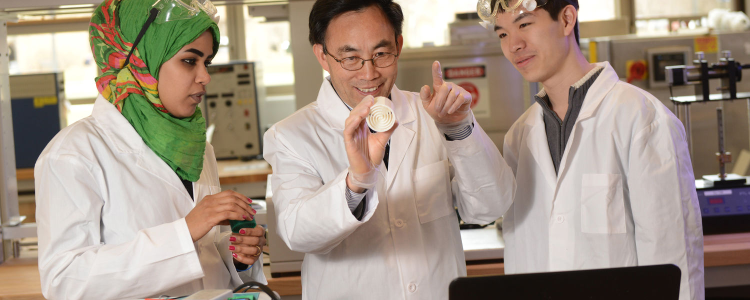 Students learn from Yanhai Du, Ph.D., an assistant professor in Kent State's College of Applied Engineering, Sustainability and Technology, in a lab in the college's new Aeronautics and Technology building.