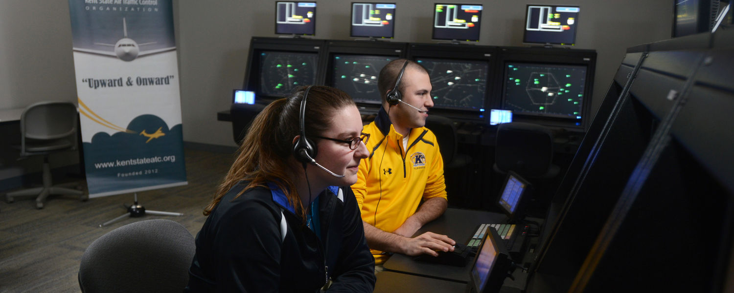 Kent State students studying air traffic control work in one of the control tower simulation labs in the new Aeronautics and Technology Building.