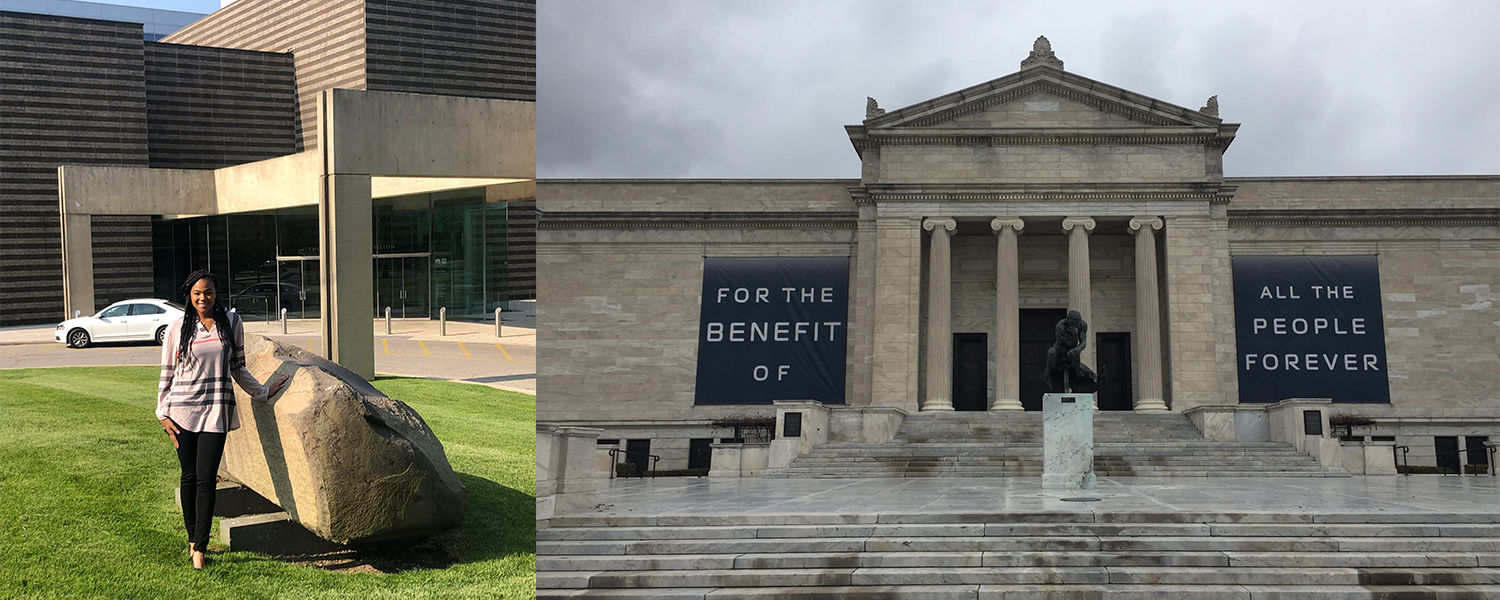 "Christina Timmons, Director's Fellowship at the Cleveland Museum of Art, Museum with banners ""For the benefit of all the people forever"" displayed on the facade"