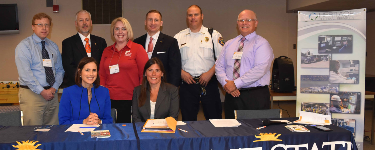 Participating in the Sunrise Breakfast Forum were (front, from left) Cara Dingus Brook and Tracy Plouck; along with (back, from left) Stewart Fletcher, John Gamble, Katie Koglman, Don Boyd, John Lane and Dr. David Dees.