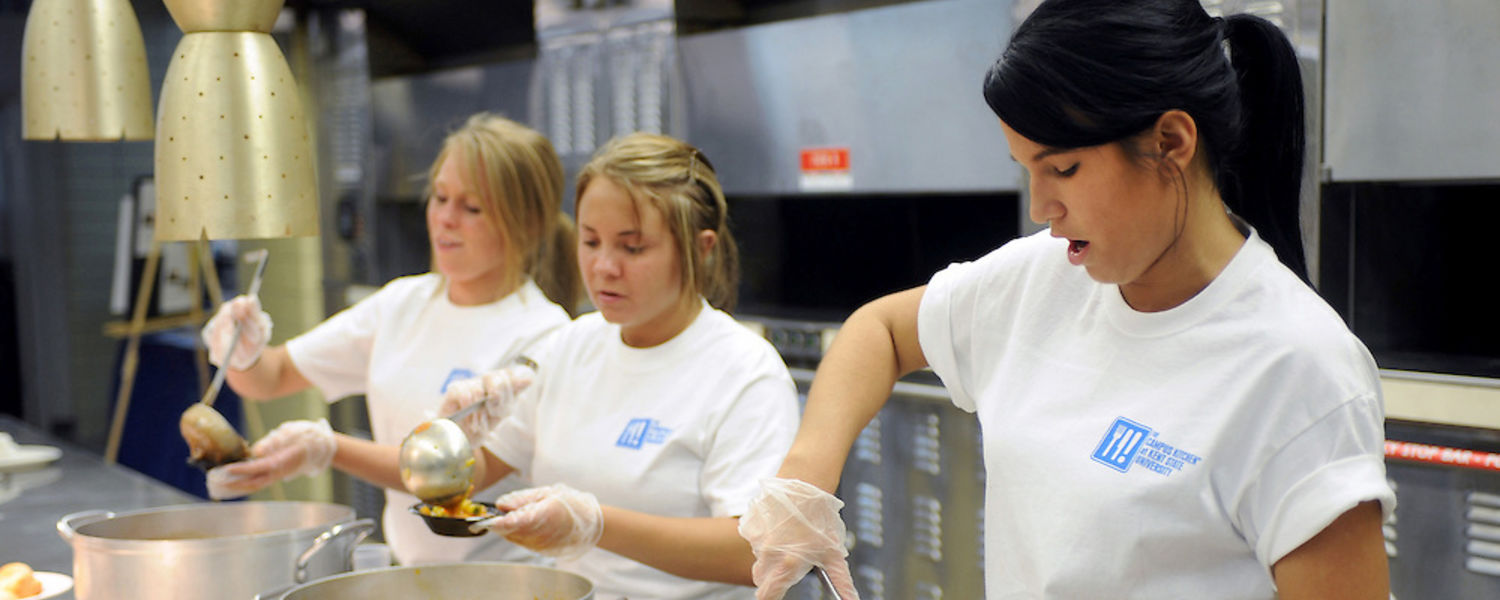 Students involved with Kent State's Campus Kitchen Project prepare meals for local community members in need.
