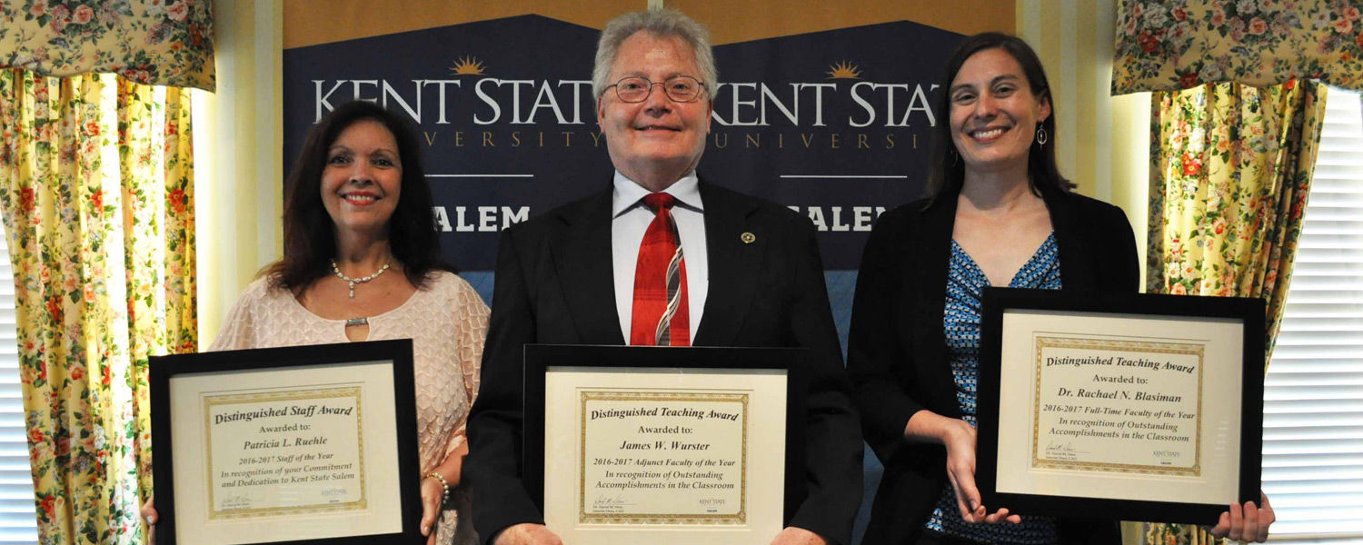 Receiving the Campus Excellence Awards at Kent State University at Salem were (from left) Patty Ruehle, James W. Wurster and Dr. Rachael Blasiman.