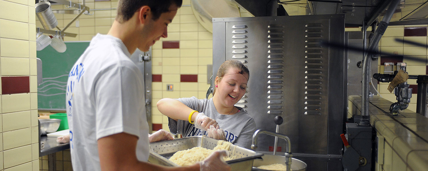 Kent State students prepare pasta for the Campus Kitchen at Kent State, located in the second floor kitchen in Beall Hall.