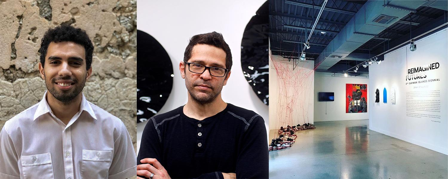 Simon Tatum and Davin Ebanks headshots and an installation view of the Cayman Islands Biennial, an art gallery with works of art hanging on the walls.