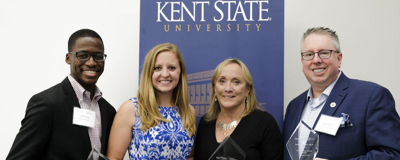 The School of Communication Studies recognized alumni JaRel Clay, Arianne Gasser, Carol Wilder and Scott Myers at its 2017 Alumni Awards.