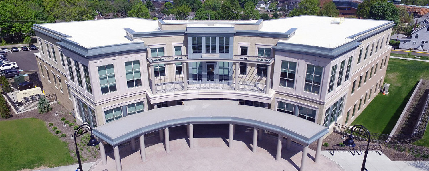 An aerial view shows Kent State's new Center for Philanthropy and Alumni Engagement. The university will celebrate its grand opening on June 3.