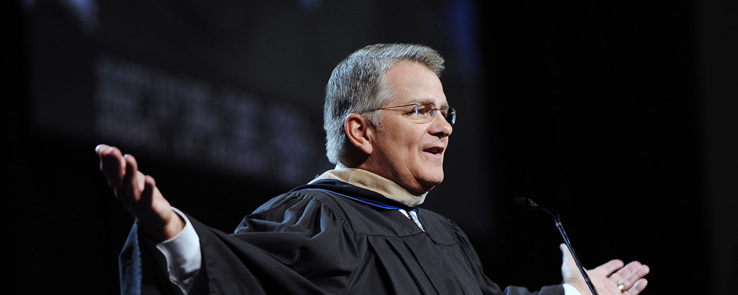 Donald C. Brown, executive vice president and chief financial officer of FedEx Freight Corporation in Memphis, Tennessee, addresses graduates during the Summer 2016 Commencement ceremony.