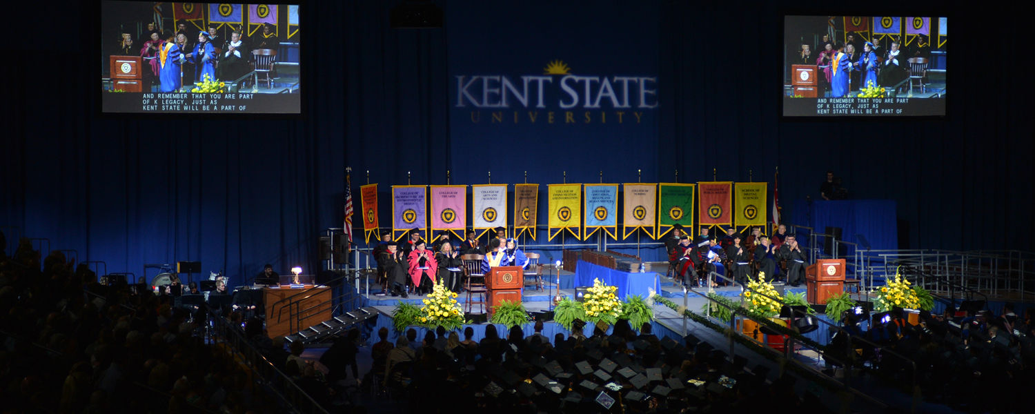 Kent State's Spring 2016 Commencement ceremonies take place in the MAC Center.