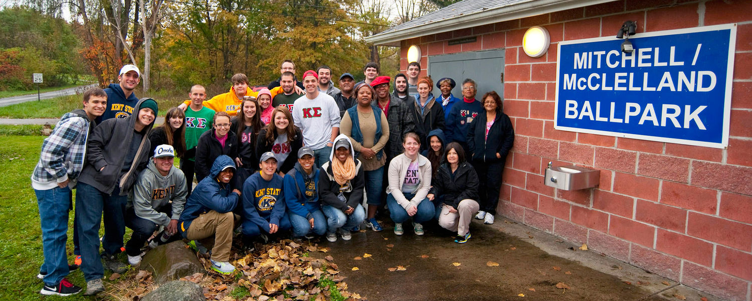 Kent State students, including members of its athletics teams, fraternities and sororities, joined community members to restore the Mitchell/McClelland Ballpark in the McElrath neighborhood of Ravenna Township, Ohio.