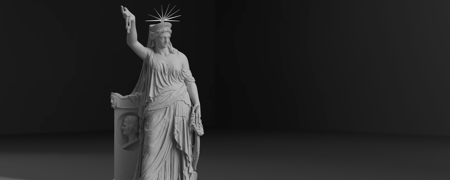 A computer rendering of the Liberty of Poetry statue (shown here) was used by Kent State University to create the 3D-printed reproduction of the statue.