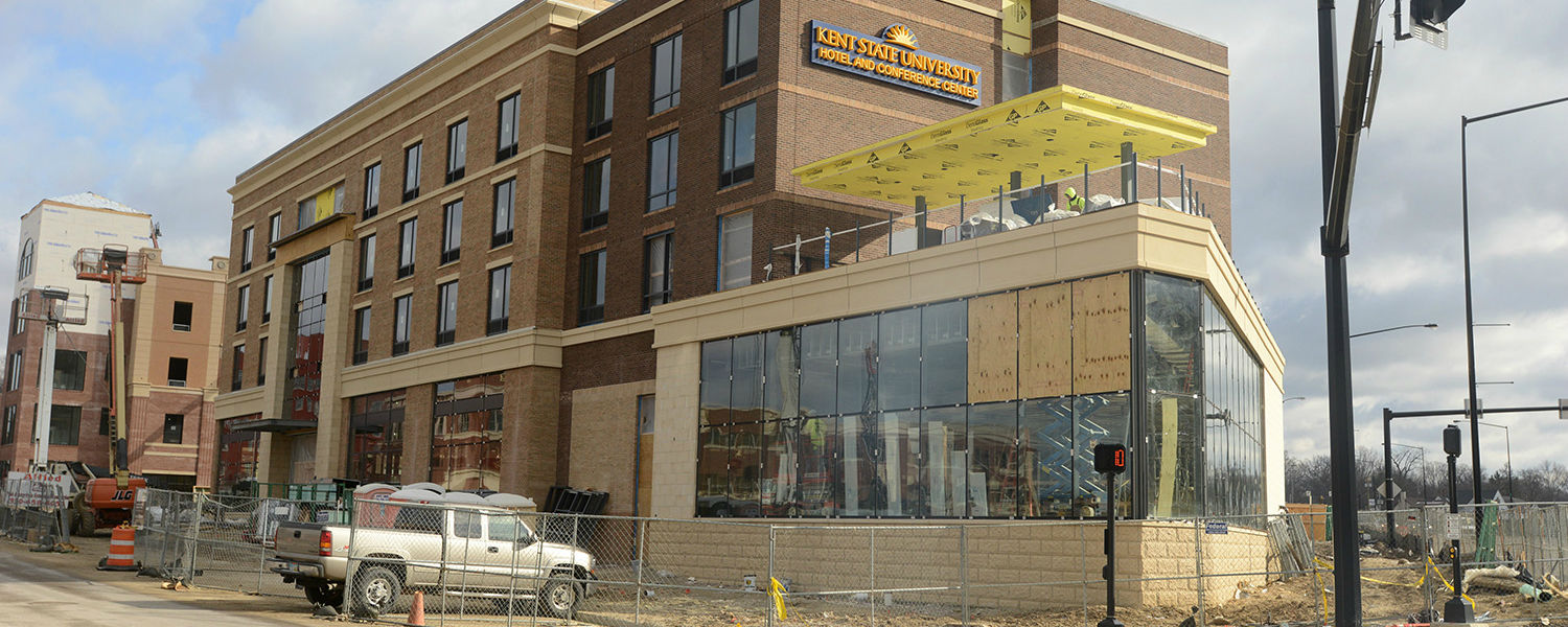 Work continues on the new Kent State University Hotel and Conference Center. Scheduled to open this summer, the hotel and conference center is a partnership between the Kent State University Foundation and the Pizzuti Companies of Columbus, Ohio.