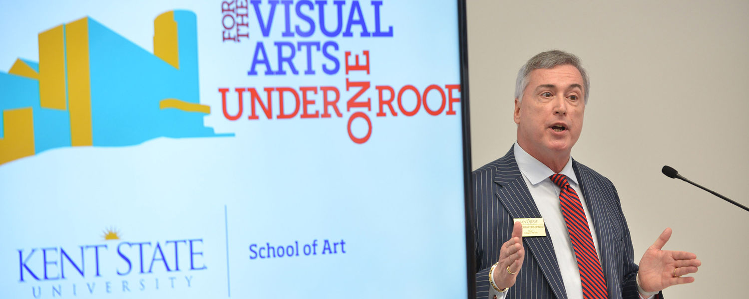 John Crawford-Spinelli, dean of Kent State's College of the Arts, speaks during the grand opening of the Center for the Visual Arts.