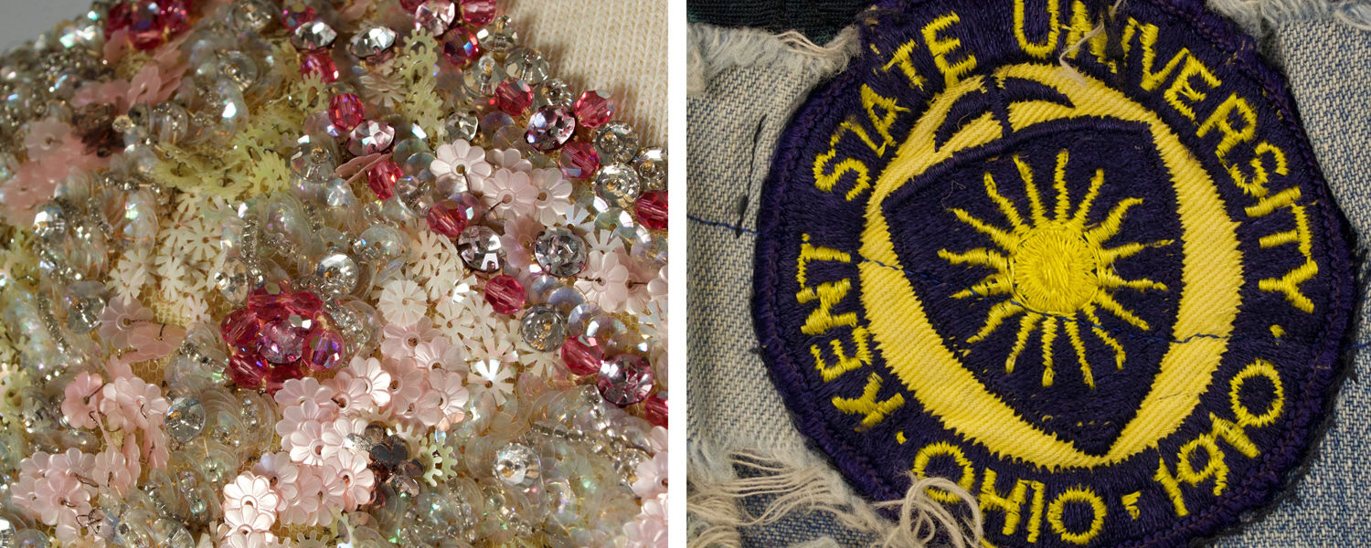 """Beading on a garment representing """"culture"""" and a Kent State University patch on jeans representing the """"counterculture"""" are included in the Kent State University Museum's """"Culture/Counterculture"""" exhibition."""