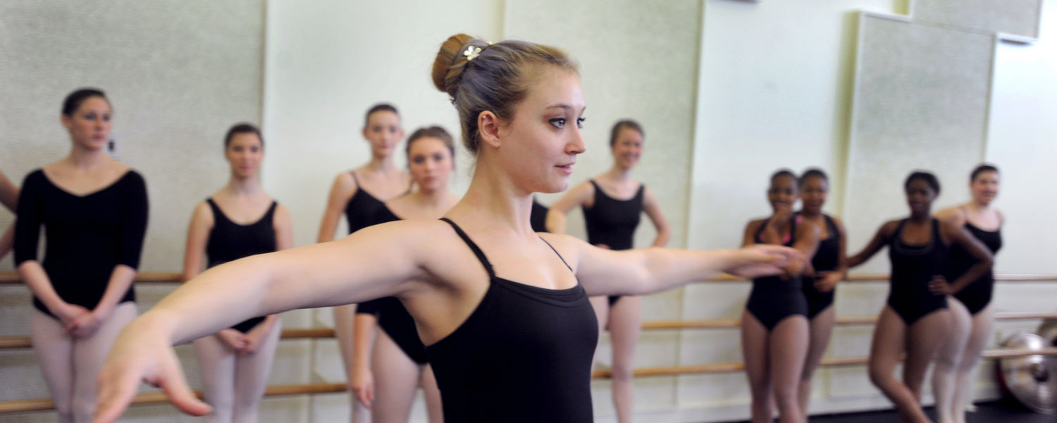 Dancers audition in the Roe Green Center for the School of Theatre and Dance