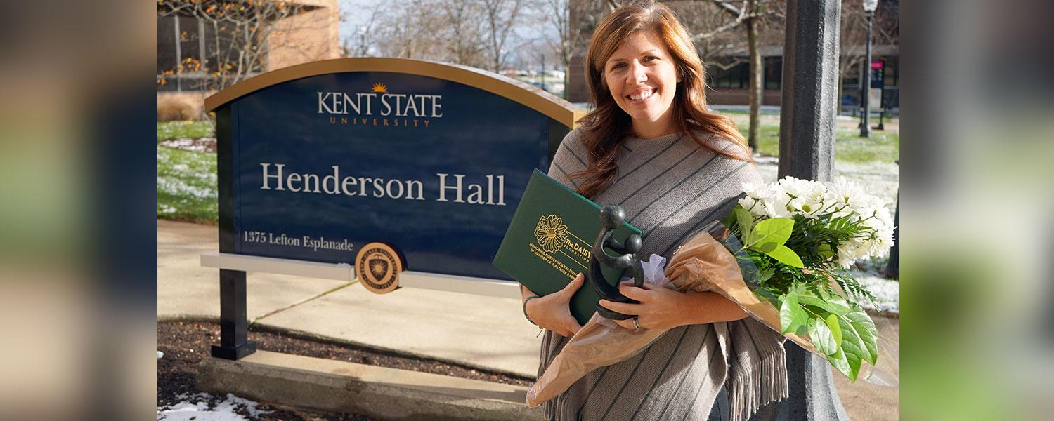 Kent State University College of Nursing lecturer Tracy M. Dodson, MSN, RN, was virtually recognized on Wednesday, November 18, 2020, as the 2020 DAISY Faculty Award recipient.