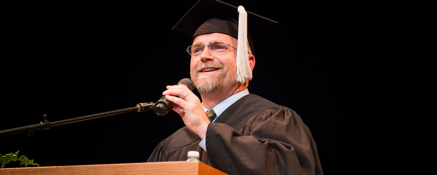 Akron-Canton Regional Foodbank President and CEO Daniel Flowers gives the Stark Spring Commencement Address on May 12