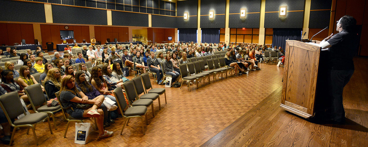 Incoming freshmen take part in the 2013 Destination Kent State summer program in the Kent Student Center Ballroom..