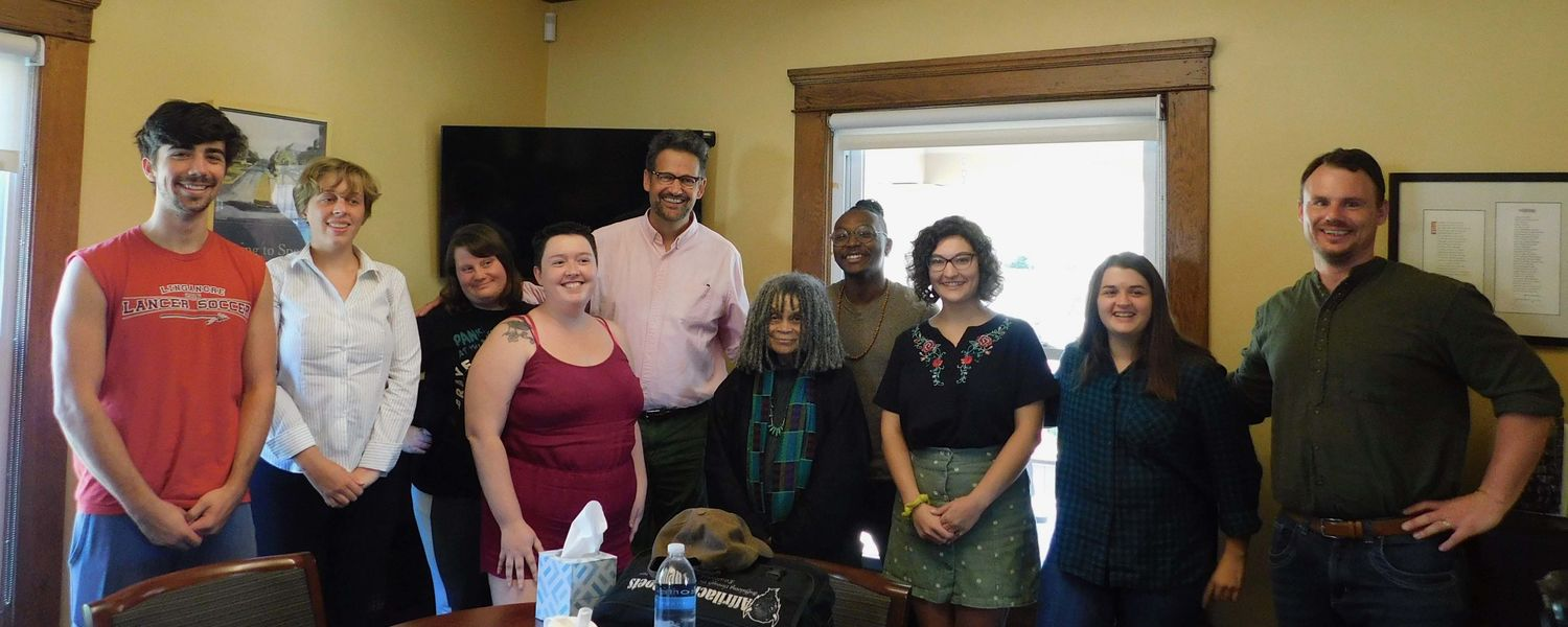 Sonia Sanchez and students