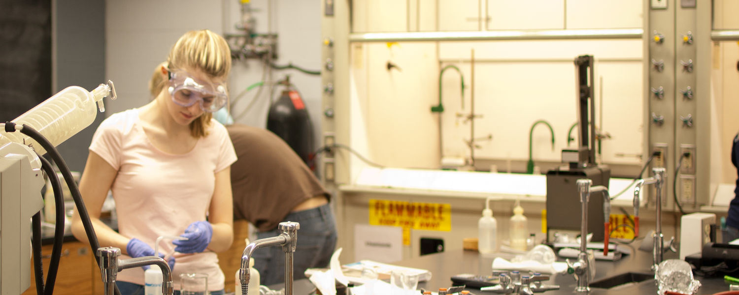 A student in an organic chemistry laboratory.
