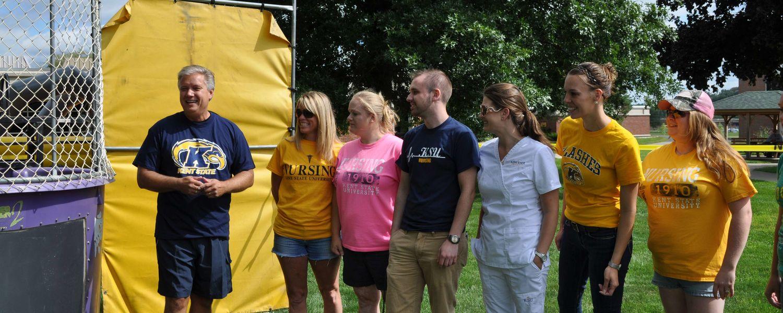 Dr. Bradley Bielski and Students at the 2014 Parking Lot Pandamonium