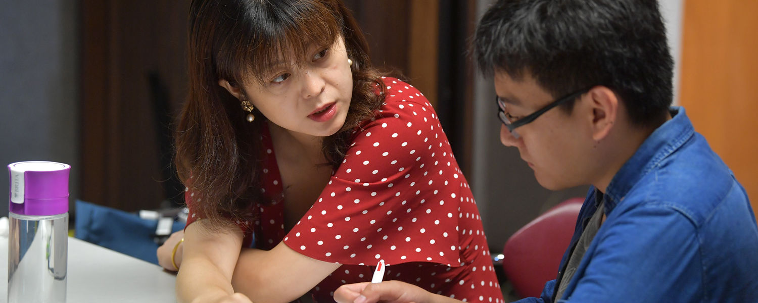 Yuxiang Wei and (Daisy) Xia Xiang assess the complexity of translator's gaze-path at the Second MEMENTO Boot Camp held in Satterfield Hall on the Kent campus