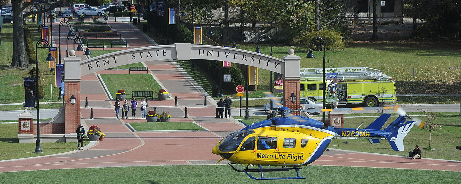 The Metro Life Flight helicopter lands on the Kent State University Esplanade.