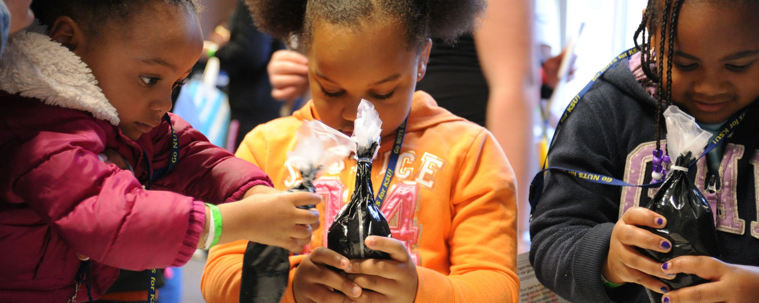 Younger siblings of Kent State students decorate cookies during Lil' Sibs Weekend.