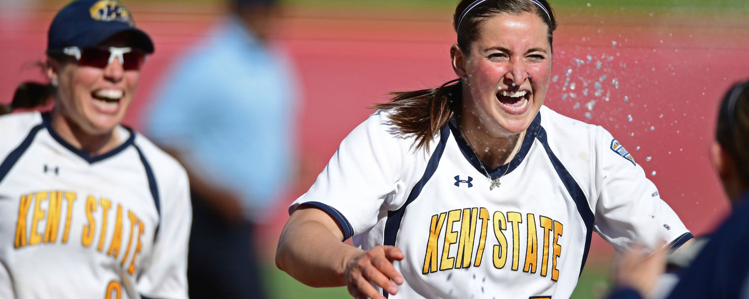 Kent State seniors Ronnie Ladines and Maddy Grimm celebrate the final out to clinch the 2017 MAC Softball Tournament Championship.