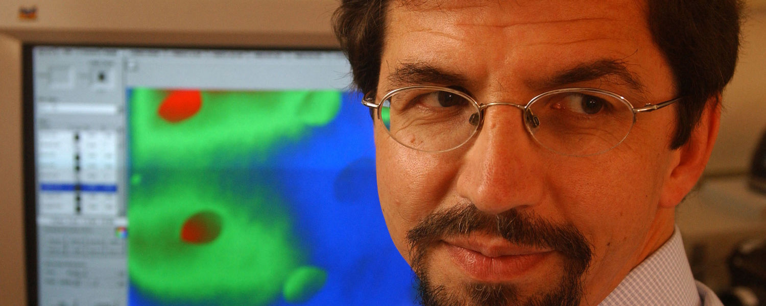 Oleg Lavrentovich, Ph.D., Kent State's Trustees Research Professor and a former director of the Liquid Crystal Institute, poses in a lab in the Liquid Crystal and Materials Sciences Building.