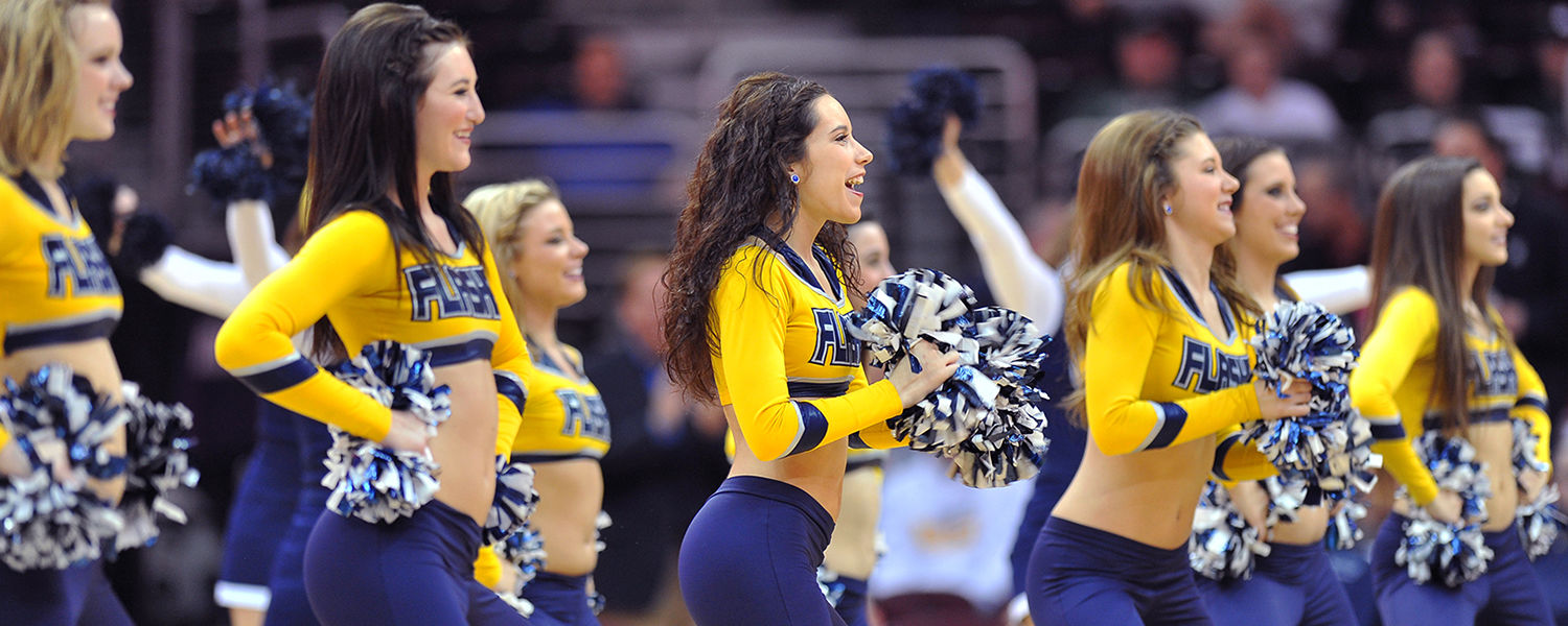 The Kent State Dance Team performs during halftime of the 2012 MAC Tournament in Cleveland