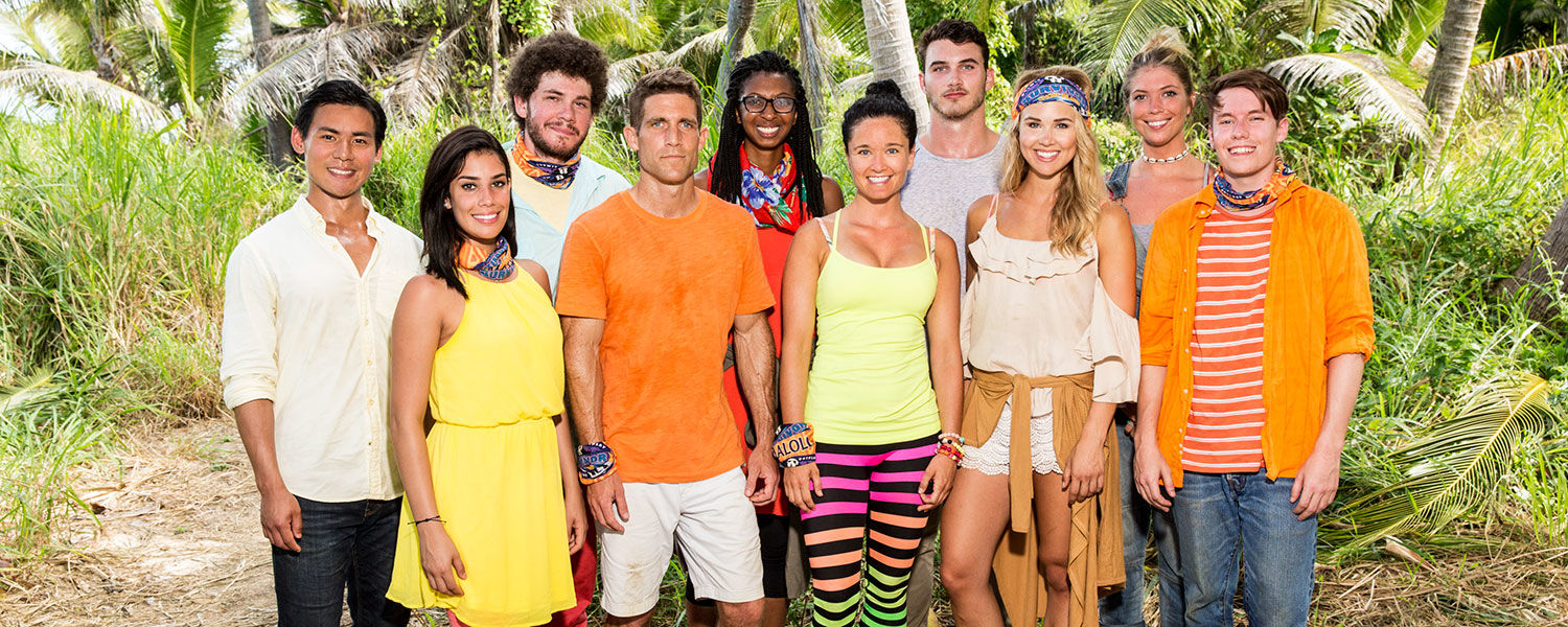 "Kent State alumnus Jacob Derwin (third from left) and other cast members of the CBS show ""Survivor: Ghost Island"" pose for a group photo. (Photo credit: Robert Voets/CBS)"