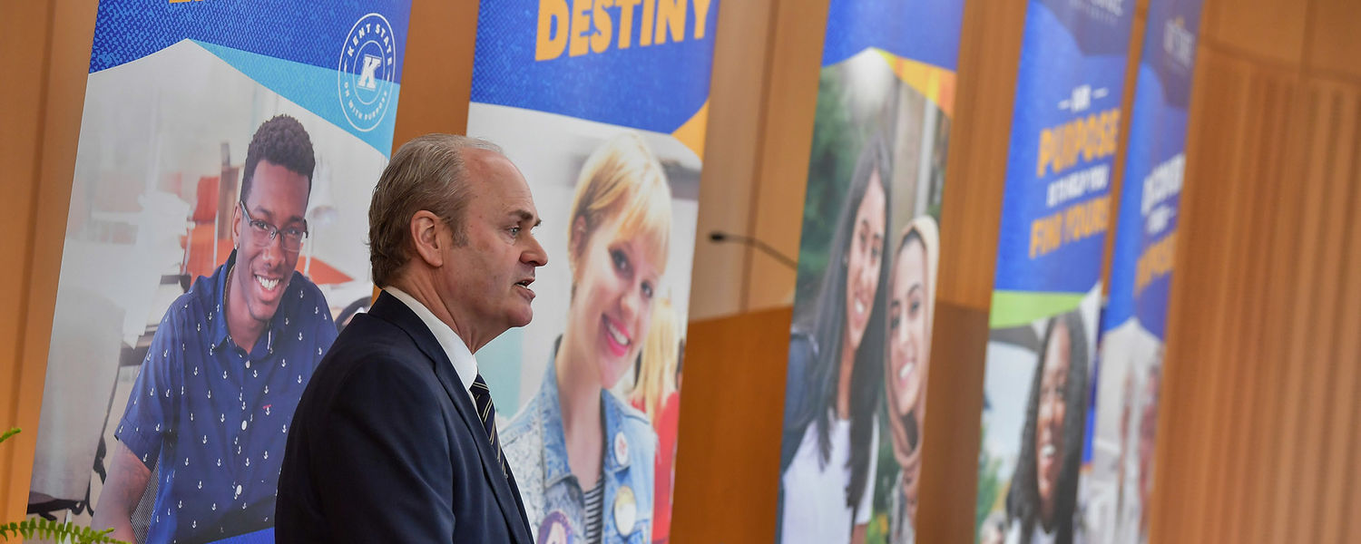 Kent State President-elect Todd Diacon, Ph.D., speaks to members of the Kent State community after being elected as the university's 13th president.