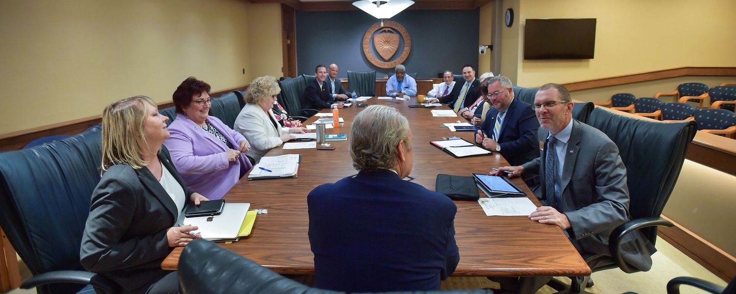 Kent State President Todd Diacon (front center) meets with the President's Cabinet.