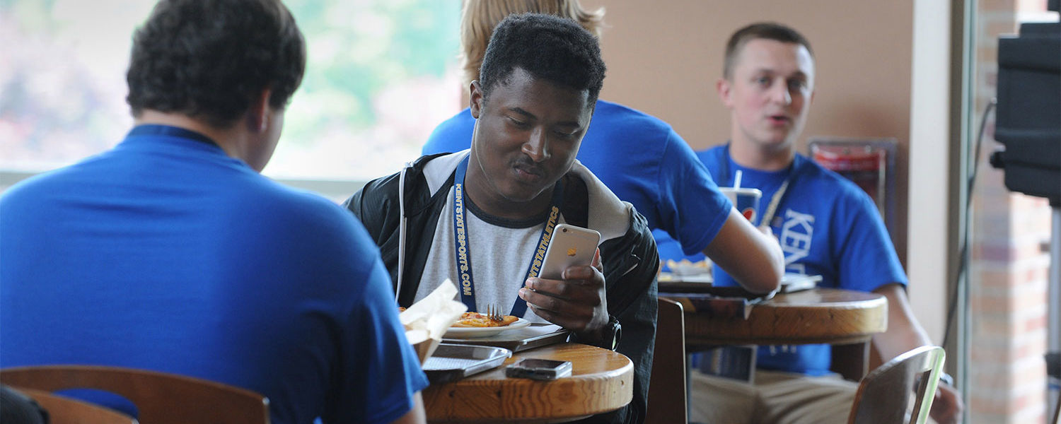Kent State students enjoy lunch together in the Eastway Center.