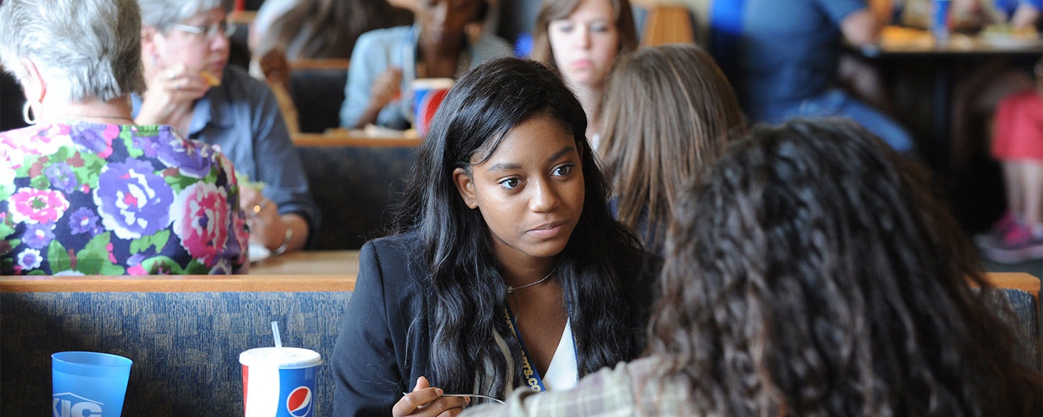 Kent State students in the Destination Kent State program eat lunch in the Eastway Center.