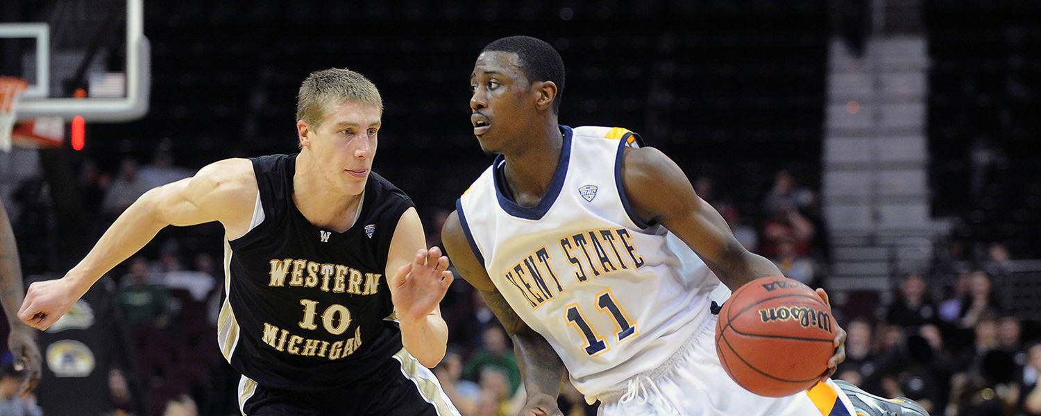 A Kent State player drives to the baseline during the 2012 MAC Tournament at Quicken Loans Arena in Cleveland.