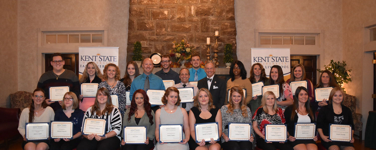 Students recognized at the Kent State East Liverpool scholarship reception 2015.