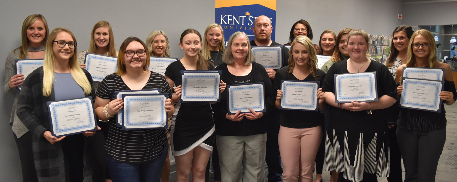 Scholarship recipients attending the reception at Kent State East Liverpool