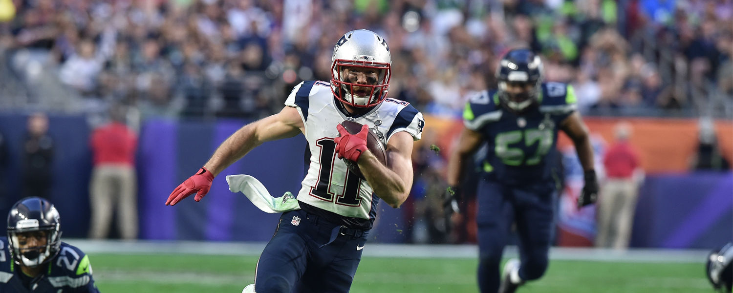 Julian Edelman makes a big play as a wide receiver with the New England Patriots during Super Bowl XLIX. (Photo courtesy of the New England Patriots)