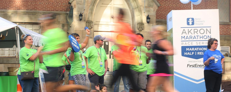 Runners at Akron Marathon