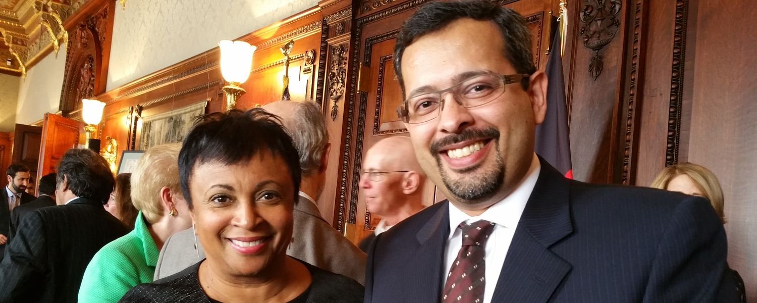 Librarian of Congress Carla Hayden with SLIS Assistant Professor Emad Khazraee