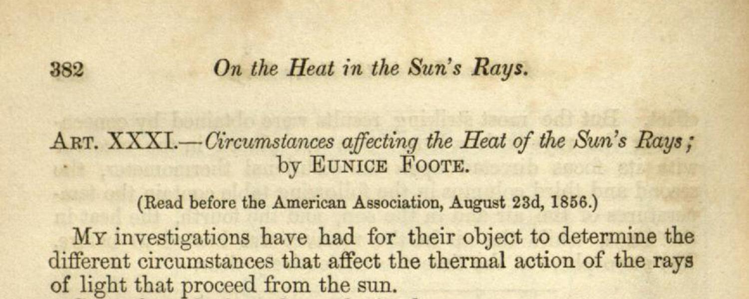 """Eunice Foote's article """"Circumstances Affecting the Heat of Sun's Rays"""", in American Journal of Art and Science, 2nd Series, v. XXII/no. LXVI, November 1856, p. 382-383."""