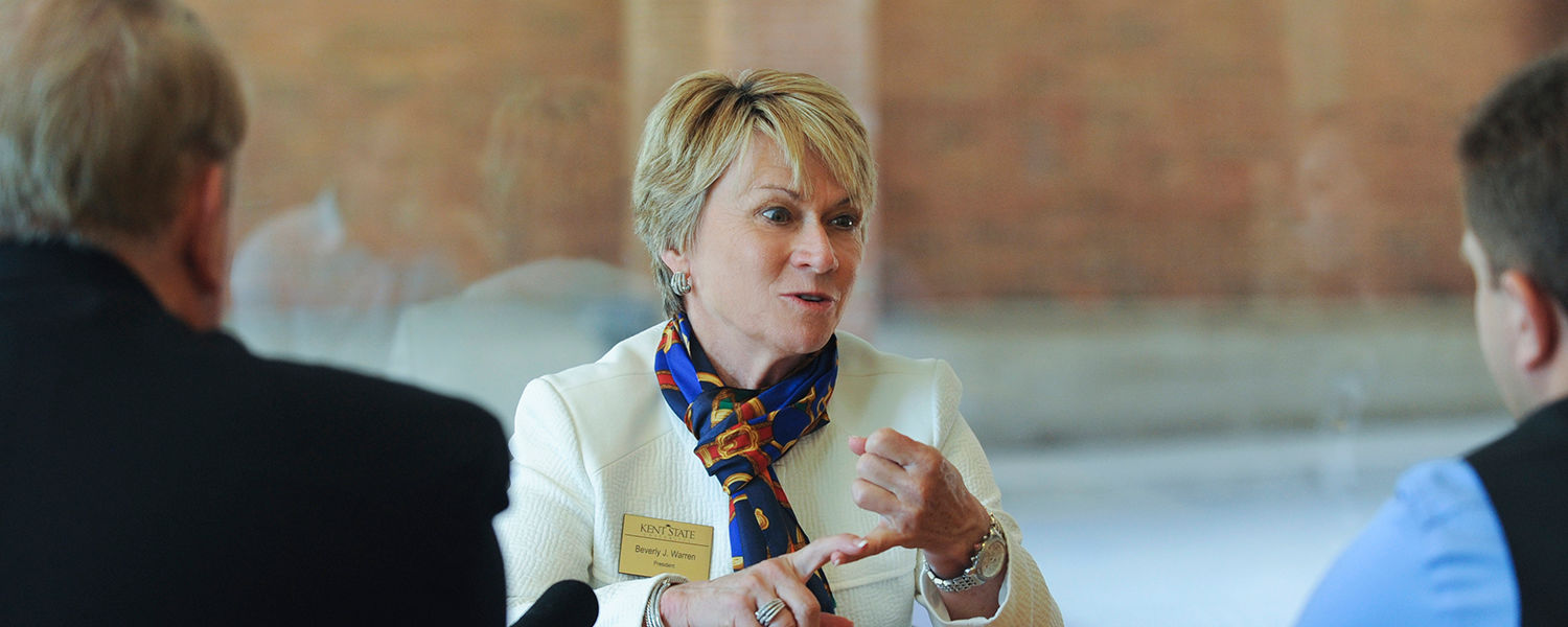 Kent State President Beverly Warren will speak with students, staff, faculty and alumni in a new series of town hall meetings to update the university community on the Strategic Visioning Initiatives and the One University Commission.