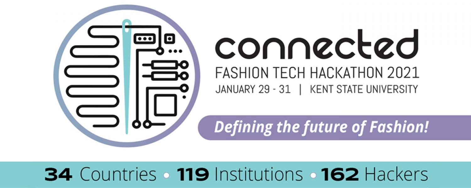 CONNECTED - Fashion Tech Hackathon 2021 Logo: 34 countries, 119 institutions, 162 hackers