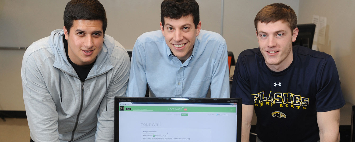 Kent State students (from left to right) Daniel Gur, David Steinberg and Camden Fullmer developed a new app that allows users to clean up their Facebook by removing potentially offensive or undesirable content. The students created the app SimpleWash (for