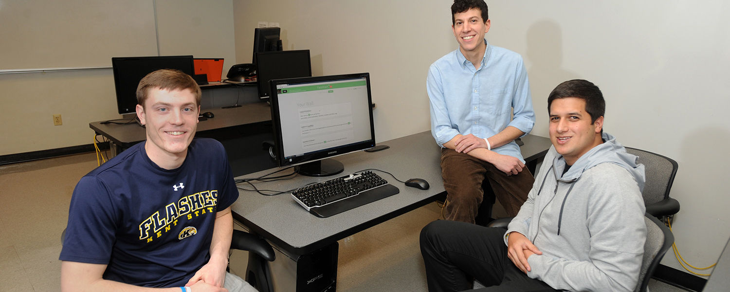Kent State students (from left to right) Camden Fullmer, David Steinberg and Daniel Gur plan to expand and improve the SimpleWash app, including expanding into different languages, exploring photo and image recognition functionality, and moving into addit